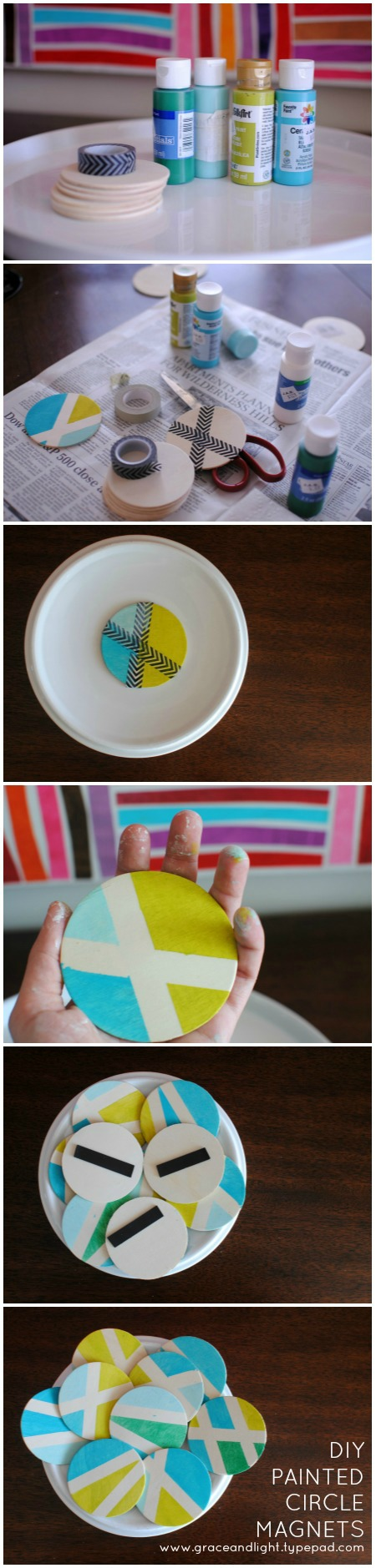 DIY Colorblock Circle Magnets - grace and light