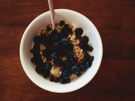 Blueberries yogurt and granola brekafast