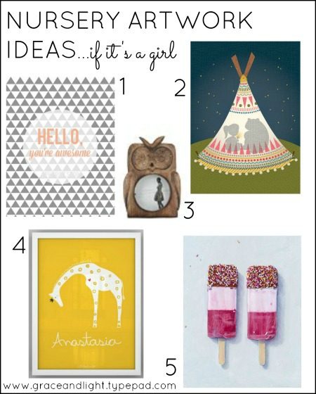 Nursery artwork ideas - girl