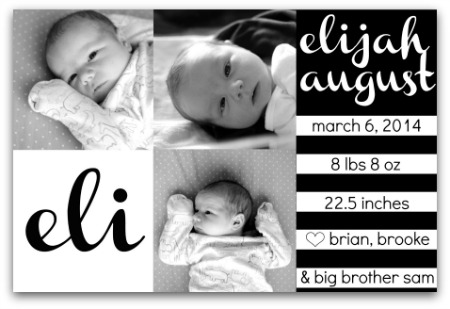 Black and white birth announcement - modern - elijah