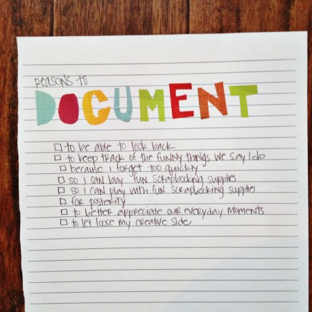 30 days of lists - reasons to document