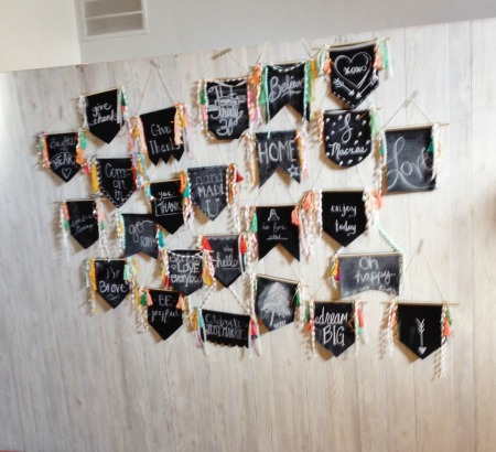 Oilcloth chalk banner - be crafty workshop - grace and light