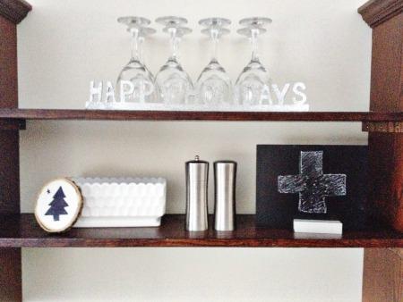 Happy holidays shelf black white silver