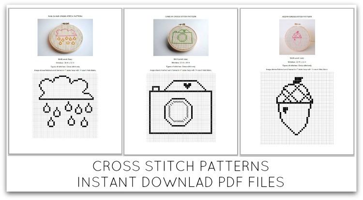 Cross stitch pattern pdf simple modern beginner level camera rain cloud acorn