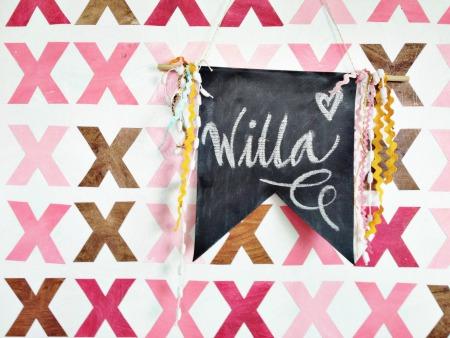 Willa #becraftyworkshop oil cloth  chalkboard banner - grace and light